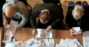 Counting in the local elections at Belfast City Hall. Photograph: Rebecca Black/PA Wire
