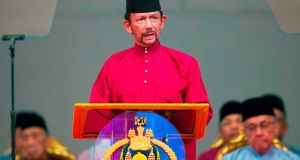 Brunei's Sultan Hassanal Bolkiah said a 'de fato moratorium' would apply to the death penalty for gay sex. Photograph: Brunei OUT/AFP/Getty Images