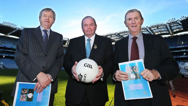 Eugene McGee at the launch of the Second Football Review Committee report in 2013 with GAA president Liam O'Neill and director general Paraic Duffy. Photograph: Cathal Noonan/Inpho