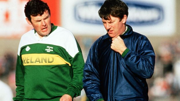 Eugene McGee pictured in 1987 when he was manager of the Ireland International Rules side alongside assistant Seán McCague. Photograph: Billy Stickland/Inpho