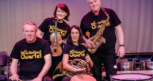 The Whistleblast Quartet (left to right): Conor Linehan (piano), Oonagh Keogh  (violin), Mary Curran (French horn), Ken Edge (clarinet and saxes)
