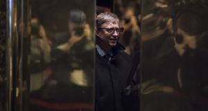 Bill Gates at Trump Tower in New York. It  was during a  meeting between Gates and Trump in March of 2018 that the billionaire  claims he changed the president's opinion on vaccinations.   Photograph:  Getty Images
