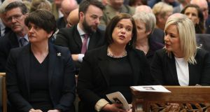 DUP leader Arlene Foster, Sinn Féin leader Mary Lou McDonald and Sinn Féin vice president Michelle O'Neill attend the funeral service for murdered journalist Lyra McKee  last month. Photograph: Brian Lawless / EPA