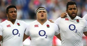 Jamie George with England and Saracens team mates Mako and Billy Vunipola. Photograph: David Rogers/Getty Images