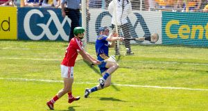 Cork's Séamus Harnedy scores a goal past Clare's goalkeeper Donal Tuohy during the 2018 Munster Hurling Final at Semple Stadium. Photograph: Morgan Treacy/Inpho