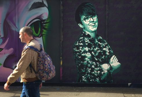 IN MEMORIAM: A new mural of late journalist Lyra McKee, painted in Belfast city centre. McKee died after being shot  by dissident republicans on the Creggan estate in Derry on April 18th. Photograph: David Young/PA Wire