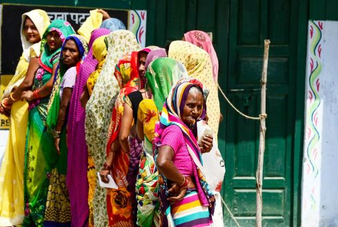 QUEUEING TO VOTE: Women queue at a polling station to cast their ballots during the fifth phase of India's general election in Amethi, Uttar Pradesh state. Photograph: Sanjay Kanojia/AFP/Getty