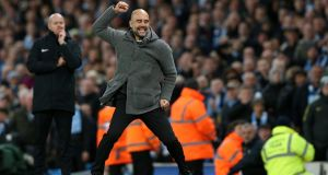 Manchester City manager Pep Guardiola celebrates after his side beat Leicester City. Photo: Nigel Roddis/Getty Images