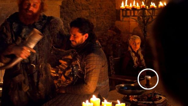A coffee cup appears on Game of Thrones season eight, episode four. Photograph: HBO