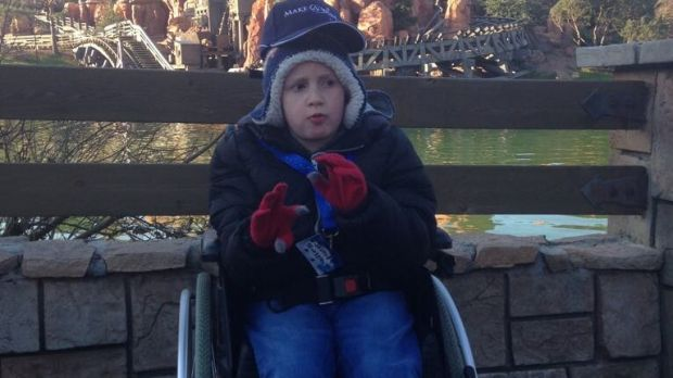 Joshua at Disneyland Paris, a 'wish' granted by Make a Wish Foundation.