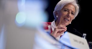 "Christine Lagarde of the International Monetary Fund. ""For us at the IMF, it's imperative that trade tensions are resolved in a way satisfying for everyone,"" she said on Tuesday. Photograph: Andrew Harrer/Bloomberg"