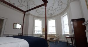 A bedroom in  3 Henrietta Street in Dublin. Photograph: Laura Hutton