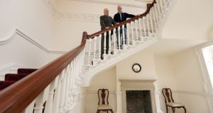 Conservationist Ian Lumley of An Taisce (left) and developer Pat Wigglesworth at 3 Henrietta Street in Dublin which has been converted into apartments and will soon be available for corporate lets. Photograph: Laura Hutton
