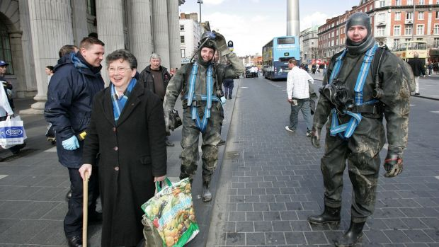 Members of the Garda Underwater Unit outside the GPO where they were checking underground drains as a security measure before an Easter Rising commemoration. File photograph: Frank Miller