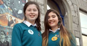 Caitlin Connolly and Lilav Mohamed of Largy College, Clones, who helped create an app and board games for refugees. Photograph courtesy of Caroline Reid, Irish Refugee Council