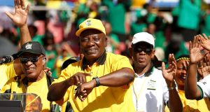 President of South Africa's governing African National Congress Cyril Ramaphosa gestures during the party's final rally at Ellis Park Stadium in Johannesburg, South Africa, at the weekend. Photograph:  Siphiwe Sibeko/Reuters