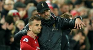 Xherdan Shaqiri has been handed a starting spot by Liverpool manager Jürgen Klopp for the second leg against Barcelona. Photograph: Andrew Yates/Reuters