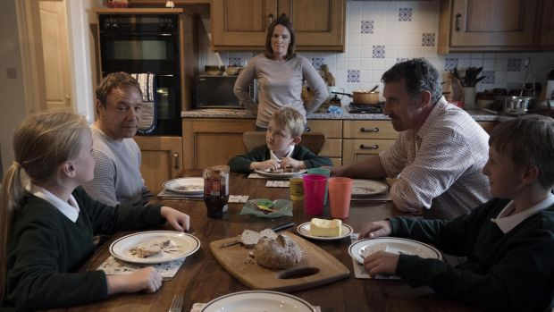 Aisling Glenholmes, Stephen Graham, Zach Humston, Helen Behan, Frank Laverty and Conner McEnaney in The Virtues.