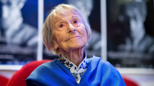 Brunhilde Pomsel attends the premier of A German Life in Munich in June 2016, some seven months before her death at age 106. Photograph: Matthias Balk/dpa via AP
