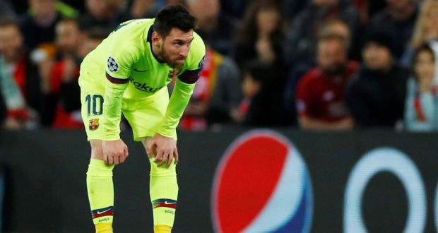 af689f848fb Barcelona s Lionel Messi looks dejected after his side s loss to Liverpool  at Anfield in the Champions