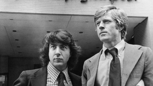 Robert Redford, right, and Dustin Hoffman portraying Post reporters Bob Woodward and Carl Bernstein in All the President's Men. Photograph: Warner Bros/Getty