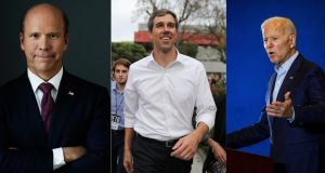 US Democrats John Delaney, Beto O'Rourke and Joe Biden who all aim to be the party's presidential candidate next year. Photographs: Christopher Goodney, Lucy Nicholson, Joe Buglewicz/Bloomberg, Reuters