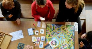 Children playing board games in The Ark, Eustace Street, D2. Photograph: Alan Betson/The Irish Times