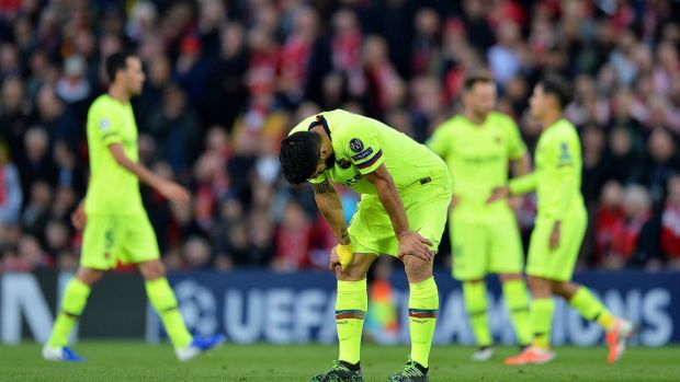 Barcelona's Luis Suarez during their 4-0 Champions League defeat at Anfield. Photograph: EPA