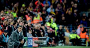 Barcelona  coach Ernesto Valverde during their 4-0 Champions League defeat at Anfield. Photograph: EPA