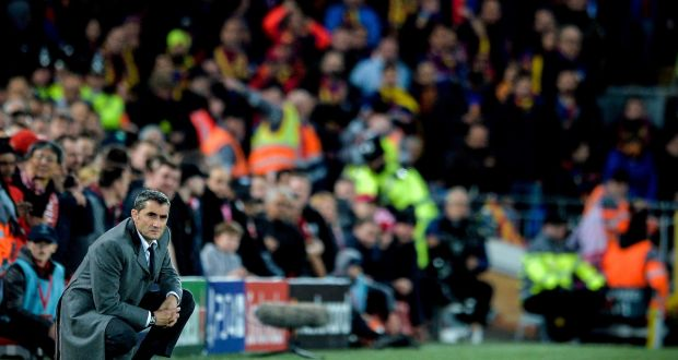 fd78fb956 Barcelona coach Ernesto Valverde during their 4-0 Champions League defeat at  Anfield. Photograph