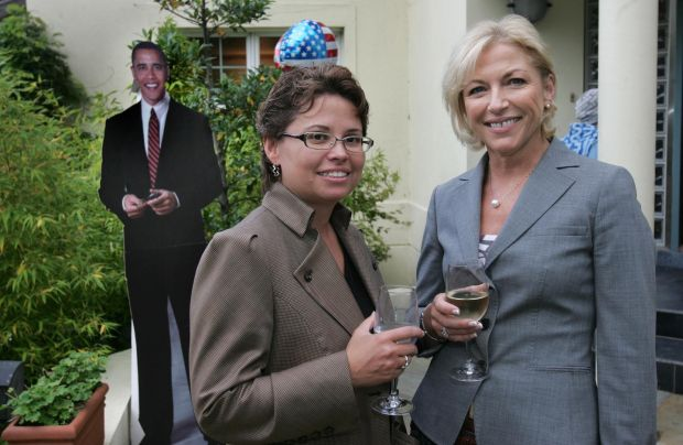 Trina Vargo left, and Liz O'Donnell at the Barack Obama fund-raising party held in the Shipsey residence in Dalkey, Co Dublin 2008. Photograph: Matt Kavanagh