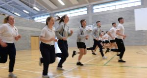 Fifth year students taking part in the  new Leaving Cert PE with Shane Davey, PE teacher in Castleknock Community College, Dublin. Photograph: Dara Mac Dónaill