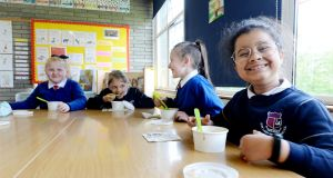 Third class students at Our lady of Lourdes National School in Inchicore, Dublin enjoying their hot lunches. Photograph: Alan Betson