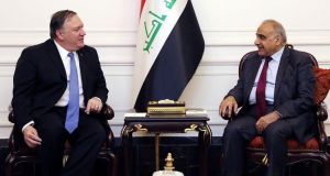 Iraqi prime minister Adel Abdul Mahdi in conversation with US secretary of state Mike Pompeo in Baghdad. Photograph: AFP/Getty