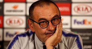 "Maurizio Sarri:  ""We need to work. Probably we'd need something from the market. So it's not easy because the level of the top two is very, very high.""  Photograph:   Mike Egerton/PA"
