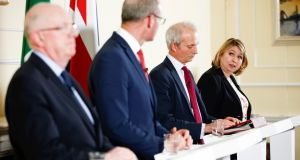 Minister for Foreign Affairs Charlie Flanagan, Tánaiste Simon Coveney, Britain's minister for the cabinet office David Lidington, and  secretary of state for Northern Ireland Karen Bradley during a press conference in London at the signing of the Common Travel Area deal. Photograph: Reuters/Henry Nicholls