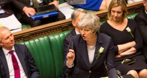 Theresa May at the dispatch box on Wednesday, May 8th:  'We are working on an agreement that can command a majority of this House.' Photograph: UK Parliament/Roger Harris/via Reuters