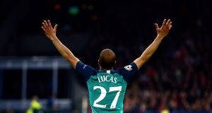 Lucas Moura celebrates after scoring his side's second goal against.