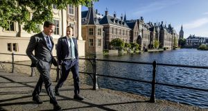 Taoiseach Leo Varadkar and Dutch prime minister Mark Rutte walk along the parliament in The Hague, Netherlands,  prior to the Summit in Sibiu. Photograph: EPA