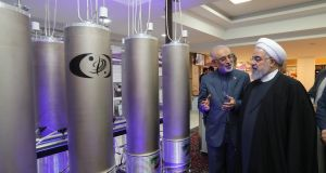 Iranian president Hassan Rouhani and the head of Iran's nuclear technology organisation Ali Akbar Salehi inspecting nuclear technology on the occasion of Iran National Nuclear Technology Day in Tehran last month. Photograph: EPA/Iranian Presidency Office