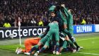 Tottenham players celebrate their victory against Ajax. Photograph: EPA