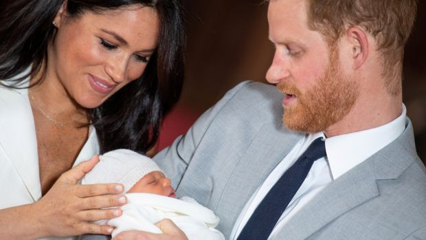 Britain's Prince Harry and Meghan, Duchess of Sussex hold their baby son. Photograph: Dominic Lipinski/Pool via Reuters