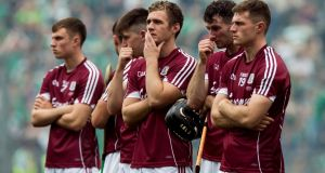 Galway players reflect at the end of last season's All-Ireland defeat to Limerick. Photograph: Tommy Dickson/Inpho