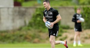Johnny Sexton trains ahead of Leinster's Heineken Cup final clash with Saracens. Photograph: Laszlo Geczo/Inpho