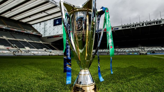 The Heineken Cup trophy on show at Newcastle's St James' Park. Photograph: James Crombie/Inpho