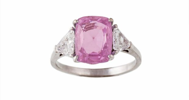 7a84a6ed2 Lot 371: Pink sapphire and diamond ring – a cushion-cut pink sapphire of