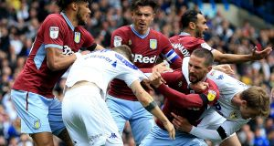 Tempers flare during Leeds' 1-1 draw with Aston Villa at Elland Road. Photograph: Clint Hughes/PA