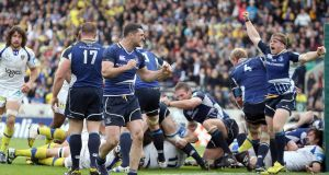 Rob Kearney celebrates at the final whistle after the battle with Clermont in 2012. Photograph: Dan Sheridan/Inpho