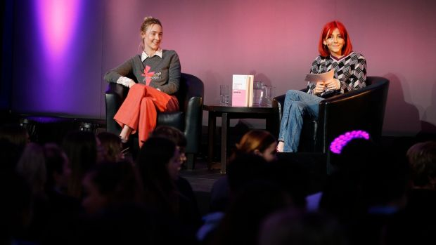 Saoirse Ronan and Scarlett Curtis, editor of Feminists Don't Wear Pink, at Scoil Chaitríona, Glasnevin, Drumcondra, Dublin. Photograph: Nick Bradshaw/The Irish Times