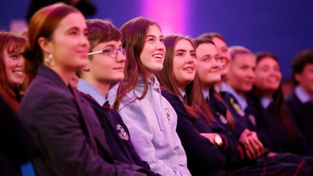 Some of the students at the Penguin Talks: Saoirse Ronan and Scarlett Curtis event at Scoil Chaitríona, Glasnevin, Drumcondra, Dublin. Photograph: Nick Bradshaw/The Irish Times
